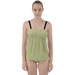 Faded Jade - Twist Front Tankini Set by FashionLane