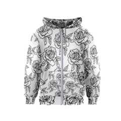 Line Art Black And White Rose Kids  Zipper Hoodie