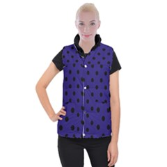 Large Black Polka Dots On Berry Blue - Women s Button Up Vest