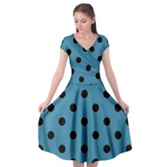Large Black Polka Dots On Blue Moon - Cap Sleeve Wrap Front Dress by FashionLane