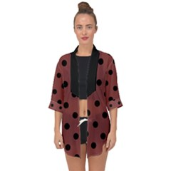 Large Black Polka Dots On Brandy Brown - Open Front Chiffon Kimono
