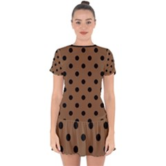 Large Black Polka Dots On Brown Bear - Drop Hem Mini Chiffon Dress by FashionLane