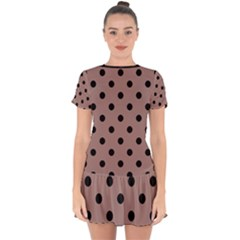 Large Black Polka Dots On Burnished Brown - Drop Hem Mini Chiffon Dress by FashionLane