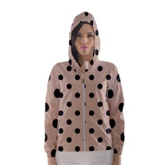 Large Black Polka Dots On Toasted Almond Brown - Women s Hooded Windbreaker