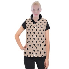 Large Black Polka Dots On Toasted Almond Brown - Women s Button Up Vest by FashionLane