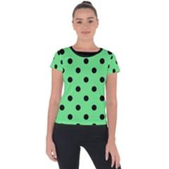 Large Black Polka Dots On Algae Green - Short Sleeve Sports Top  by FashionLane
