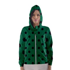 Large Black Polka Dots On Cadmium Green - Women s Hooded Windbreaker