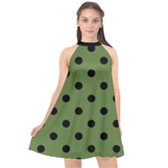Large Black Polka Dots On Crocodile Green - Halter Neckline Chiffon Dress  by FashionLane