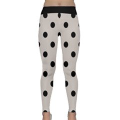 Large Black Polka Dots On Abalone Grey - Classic Yoga Leggings by FashionLane