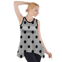 Large Black Polka Dots On Chalice Silver Grey - Side Drop Tank Tunic