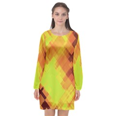 Geo Abstract 1 Long Sleeve Chiffon Shift Dress  by MoreColorsinLife