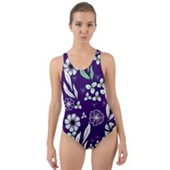 Floral Blue Pattern Cut-out Back One Piece Swimsuit by MintanArt