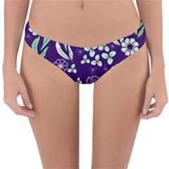 Floral Blue Pattern  Reversible Hipster Bikini Bottoms by MintanArt