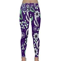 Floral Blue Pattern  Classic Yoga Leggings by MintanArt