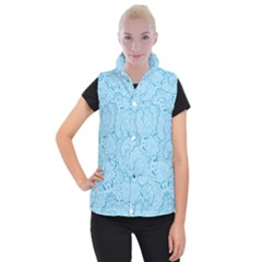 Blue Lines Pattern Women s Button Up Vest by designsbymallika