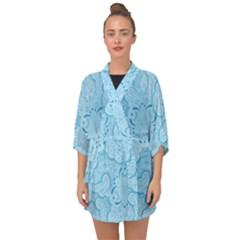 Blue Lines Pattern Half Sleeve Chiffon Kimono by designsbymallika