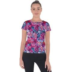 Pink Blue Flowers Short Sleeve Sports Top  by designsbymallika