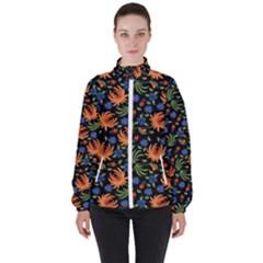 Orange Flowers Pattern Women s High Neck Windbreaker by designsbymallika