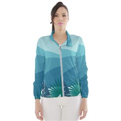 Illustration Of Palm Leaves Waves Mountain Hills Women s Windbreaker by HermanTelo