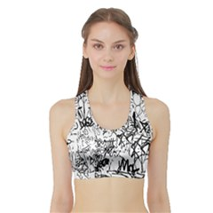 Black And White Graffiti Abstract Collage Sports Bra With Border by dflcprintsclothing