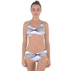 Making Waves Modern Urban Graphic Black And White Criss Cross Bikini Set by CrypticFragmentsColors