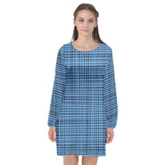 Blue Knitting Pattern Long Sleeve Chiffon Shift Dress  by goljakoff