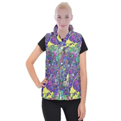 Vibrant Abstract Floral/rainbow Color Women s Button Up Vest by dressshop