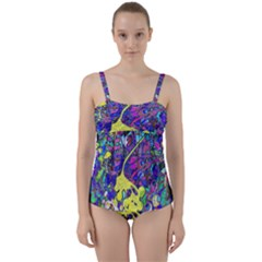 Vibrant Abstract Floral/rainbow Color Twist Front Tankini Set by dressshop