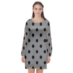 Large Black Polka Dots On Just Grey - Long Sleeve Chiffon Shift Dress  by FashionLane