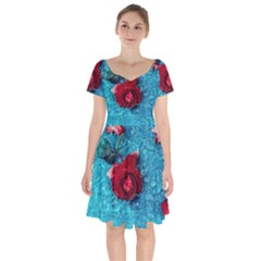 Red Roses In Water Short Sleeve Bardot Dress by Audy