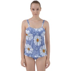 Chamomile Flower Twist Front Tankini Set