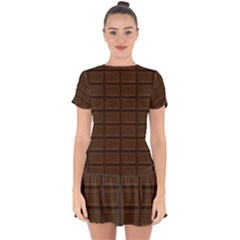 Milk Chocolate Drop Hem Mini Chiffon Dress