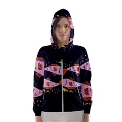 Fish Pisces Astrology Star Zodiac Women s Hooded Windbreaker