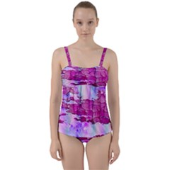 Background Crack Art Abstract Twist Front Tankini Set