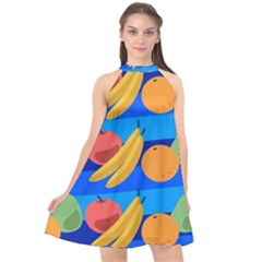 Fruit Texture Wave Fruits Halter Neckline Chiffon Dress
