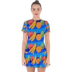 Fruit Texture Wave Fruits Drop Hem Mini Chiffon Dress by AnjaniArt