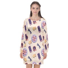 Breakfast Love Breakfast Love Long Sleeve Chiffon Shift Dress