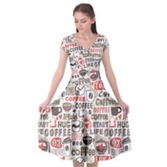 Coffee Love Cap Sleeve Wrap Front Dress by designsbymallika