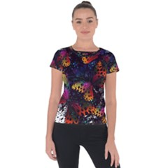Butterfly Floral Pattern Short Sleeve Sports Top