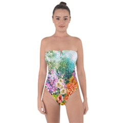 Forest Flowers  Tie Back One Piece Swimsuit by ArtsyWishy