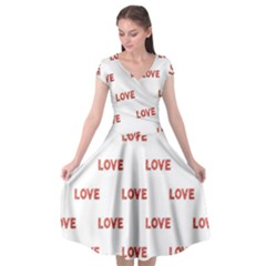 Flower Decorated Love Text Motif Print Pattern Cap Sleeve Wrap Front Dress