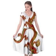 Dragon Art Glass Metalizer China Cap Sleeve Wrap Front Dress
