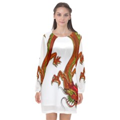 Dragon Art Glass Metalizer China Long Sleeve Chiffon Shift Dress