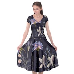 Butterflies And Flowers Painting Cap Sleeve Wrap Front Dress