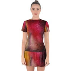 Red Galaxy Paint Drop Hem Mini Chiffon Dress by goljakoff