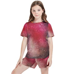 Red Galaxy Paint Kids  Tee And Sports Shorts Set by goljakoff