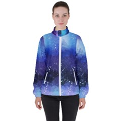 Blue Space Paint Women s High Neck Windbreaker by goljakoff