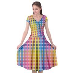 Digital Paper Stripes Rainbow Colors Cap Sleeve Wrap Front Dress
