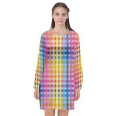 Digital Paper Stripes Rainbow Colors Long Sleeve Chiffon Shift Dress