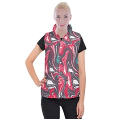Red Vivid Marble Pattern 3 Women s Button Up Vest